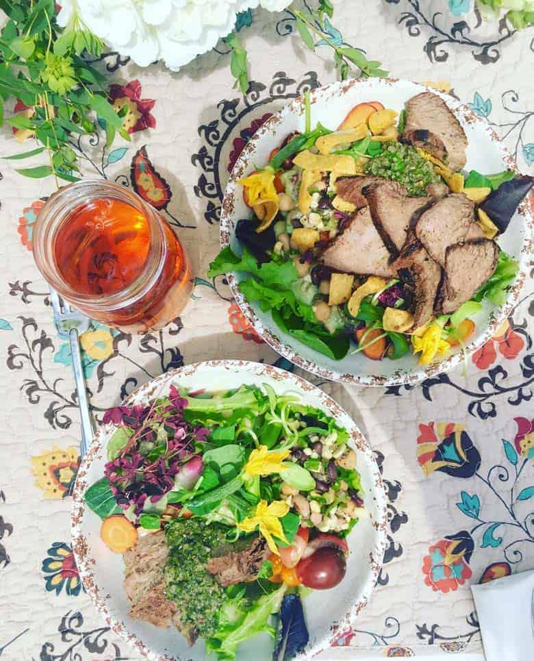 Tri-tip steak salad on the ranch in Kansas.