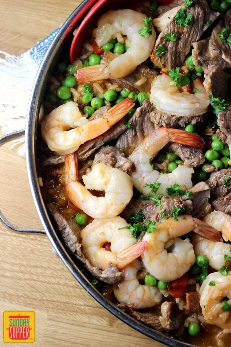 Easy Paella Recipe with Beef and Shrimp