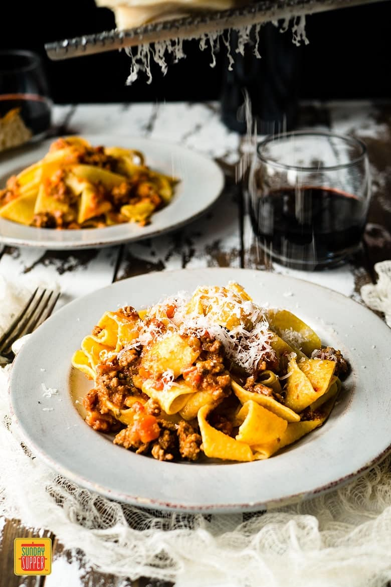 Homemade Bolognese Sauce with Pappardelle Pasta