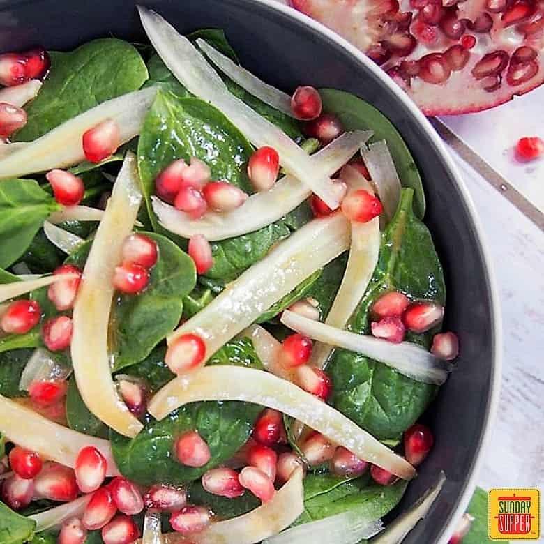 Spinach Pomegranate Salad #SundaySupper