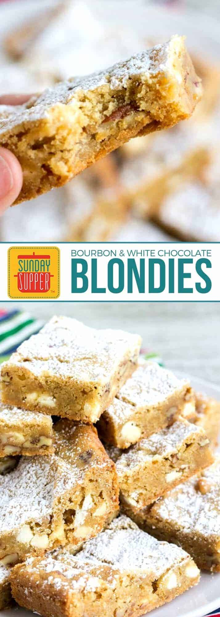 This Chewy Blondies Recipe is a must for the holiday season! Loaded with white chocolate chips & pecans, they're a guaranteed hit for any occasion! A great addition to your dessert table or to give as a holiday gift, this easy recipe with a little bit of bourbon will be loved by all! #SundaySupper #Blondies #DessertRecipe #HolidayRecipe #BourbonRecipe #cookieexchange