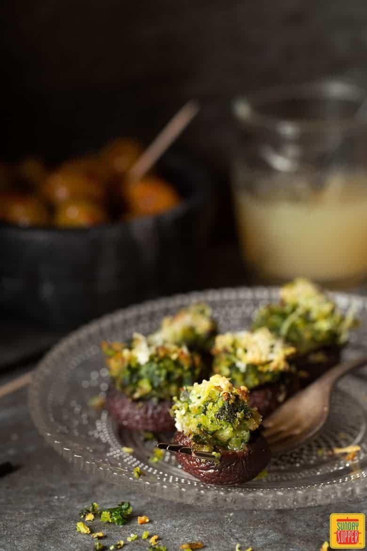 Vegetarian Stuffed Mushroom Recipe on a party platter ready to serve