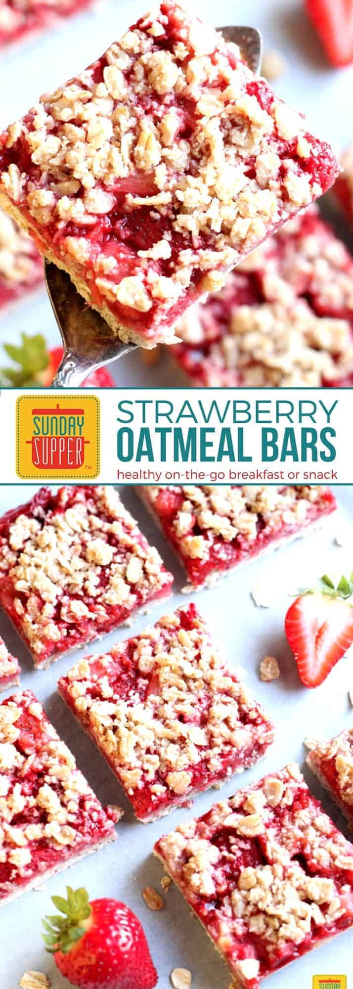 For a QUICK on-the-go breakfast or snack you NEED our Sunday Supper recipe for Healthy Strawberry Oatmeal Bars. Easy to make & delicious, fresh strawberries and rolled oats get your day started on the right note. Add this easy recipe to your list of favorite Healthy Family Recipes! #SundaySupper #FLStrawberry #BreakfastRecipes #StrawberryRecipes