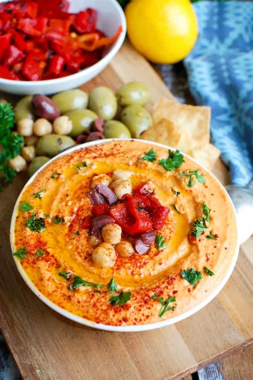 Roasted Red Pepper Greek Yogurt Hummus