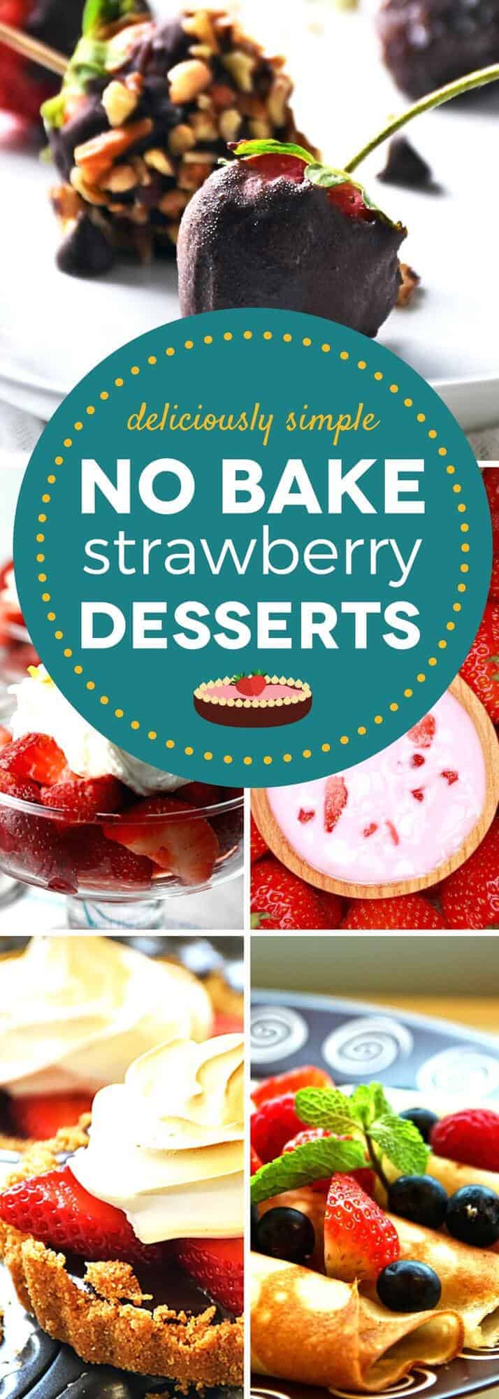 Fresh strawberries take the lead in these no bake strawberry desserts! From chocolate dipped strawberries and strawberry puddings to tart, pie, and cake recipes, these easy no bake dessert recipes prove that you don't need to turn on your oven to whip up an amazing dessert. #SundaySupper #nobake #strawberryrecipes #dessertrecipes #nobakedesserts