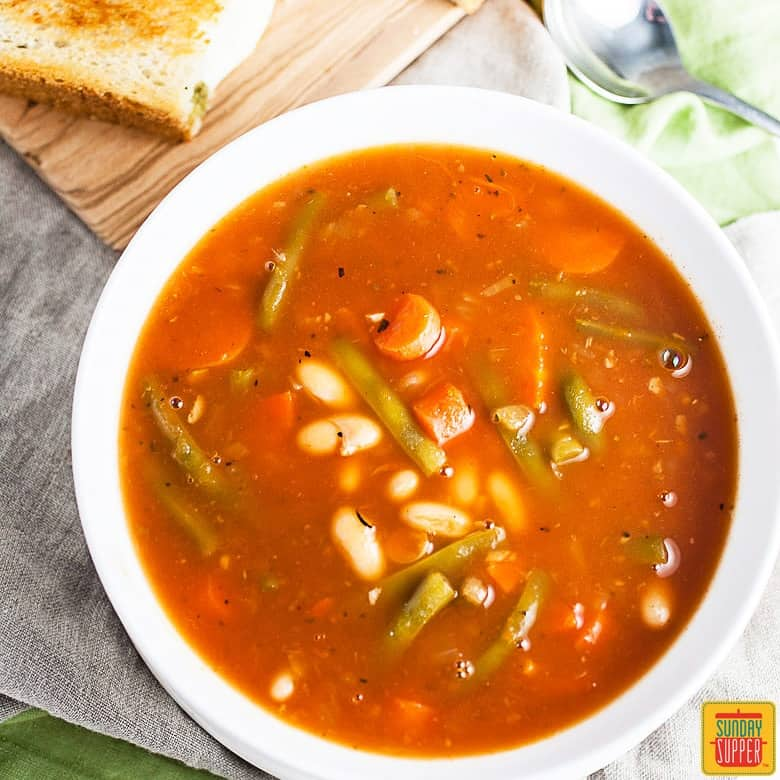 Italian Vegetable Soup and Pesto Grilled Cheese #SundaySupper