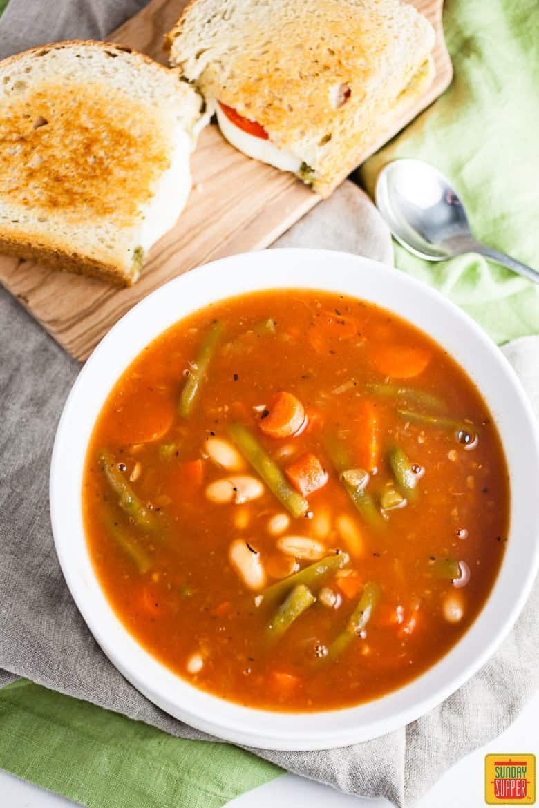 Italian Vegetable Soup and Pesto Grilled Cheese ready to eat #SundaySupper