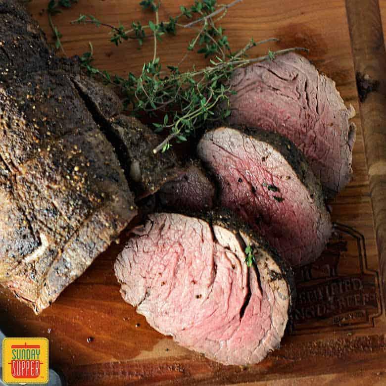 Whole Beef Tenderloin recipe on cutting board
