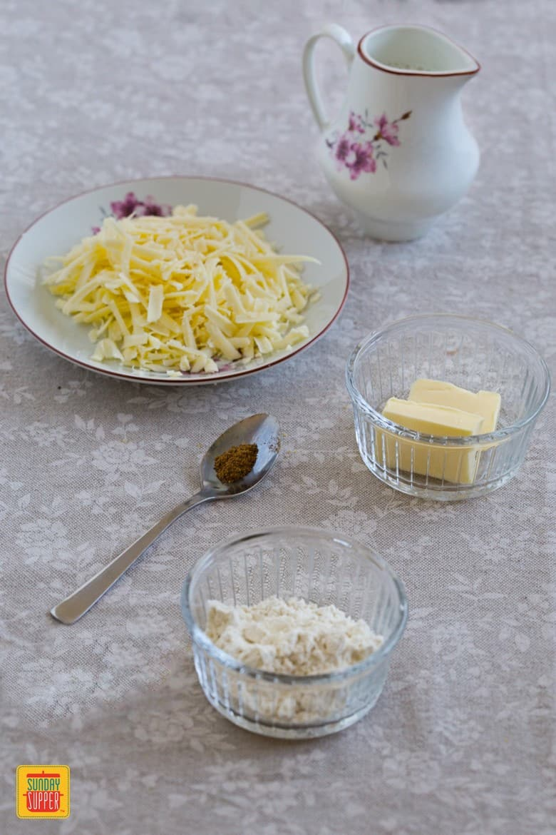 How to make Cheese Sauce: Ingredients for Cheese sauce: milk, butter, flour, nutmeg and grated cheese