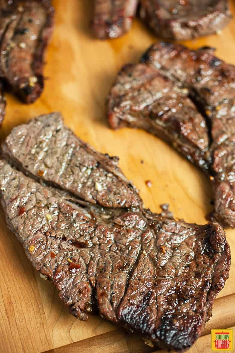 Freshly grilled chuck steak ready to be served