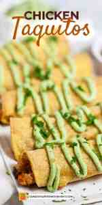 Save Chicken Taquitos Recipe on Pinterest for later!