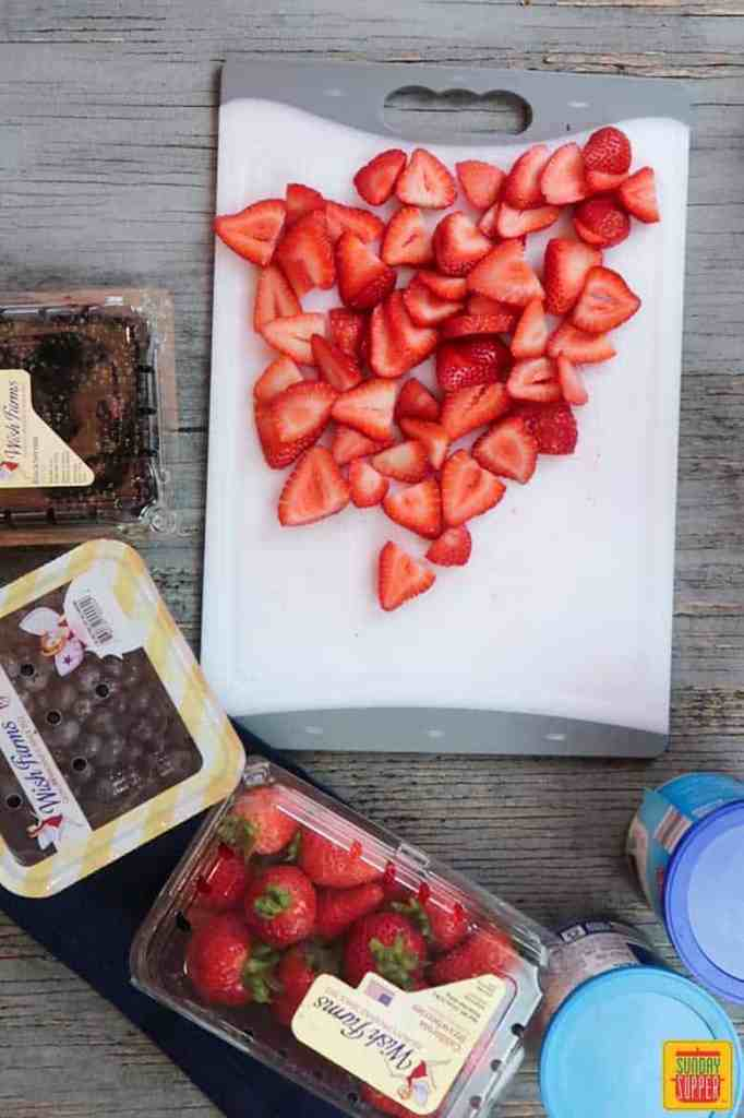 sliced strawberries for spider-man web berry dessert