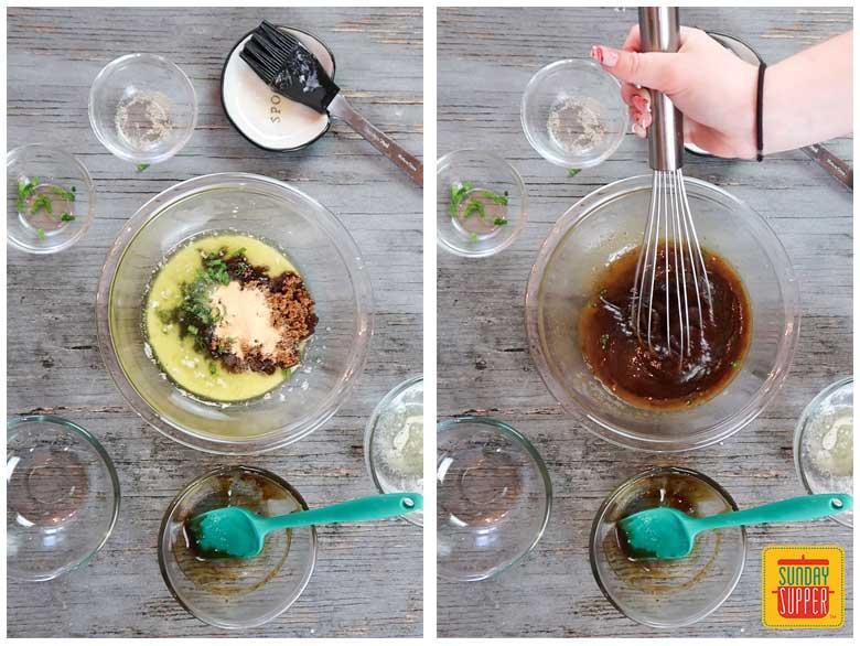 Stirring the glaze for honey glazed ham