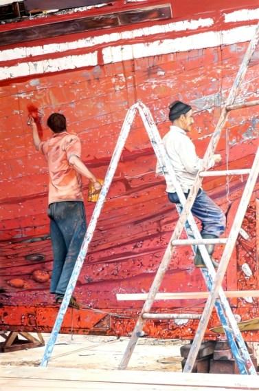 Brian Fleming, Repair work, red boat, Essaouira, Morocco
