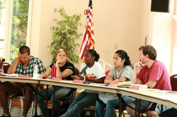 Senators of the Associated Students (A.S.) debate whether or not the help fund CSUN's Waterski and Wakeboard Club during the A.S. meeting on Tuesday. The last time A.S. funded the club, the club did not use their rescources, according to A.S. President Abel Pacheco. Photo Credit: