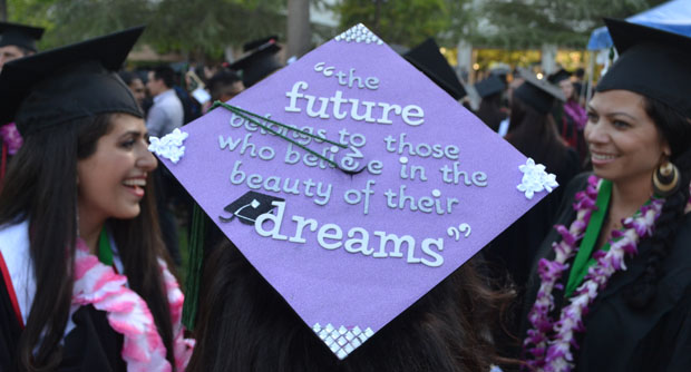 CSUN students from the College of Health and Human Development graduated on Tuesday.  Many graduates creatively customized their caps with inspiring quotes. Photo credit: John Saringo-Rodriguez / Photo Editor