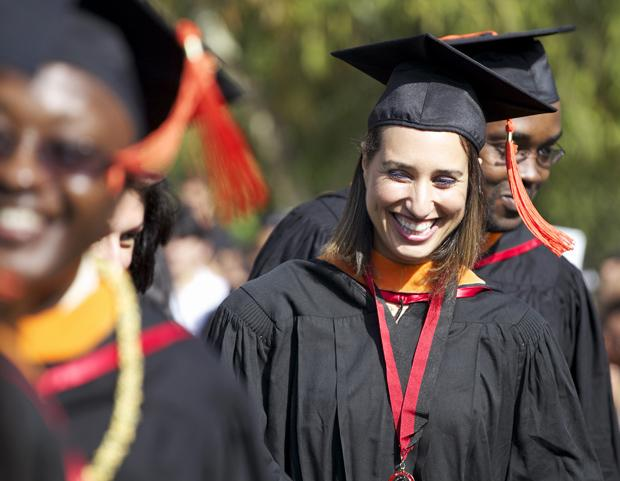 CSUN graduates stand in preparation of receiving their diplomas during the college of engineering and computer science graduation held at the lawn behind Manzanita Hall on May 22. CSUN is considering combining ceremonies in order to reduce the amount of graduations in the week. File Photo / Daily Sundial