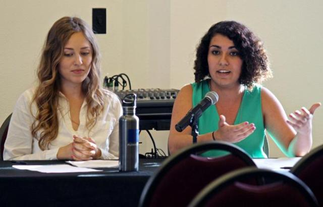"President candidate Tiffany Zaich (left) and vice president candidate Talar Alexanian (right), both defending the ""United We Thrive"" platform, speak during the A.S Presidential Debate, Monday, in the Flintridge Room at the USU. Election days will be on April 1st and 2nd, and there will be on-campus polling locations. Photo Credit: Lucas Esposito / Daily Sundial"