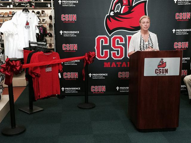 President Dianne Harrison introduces Matador athletics apparel at Sports  Chalet's Porter Ranch location Tuesday. Three percent of each purchase will go towards Matador athletics, according to Harrison. Photo Credit: Pete Camarillo / Sports Editor