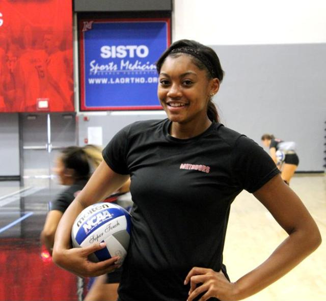 Ciena Stinson, junior, outside hitter for the women's volleyball team, was named Big West Player two weeks ago. On Aug. 29 Stinson obtained 15 kills and 26 on Aug. 30. Photo Credit: Candice Criss/ The Sundial