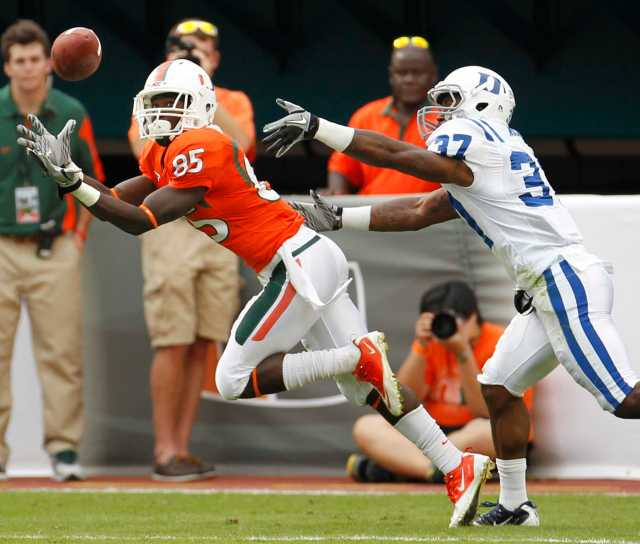 Miami's Phillip Dorsett scores with this pass reception in the second quarter against Duke at Sun Life Stadium in Miami Gardens, Florida, Saturday, November 5, 2011. The Miami Hurricanes defeated the Duke Blue Devils, 49-14. (Al Diaz/Miami Herald/MCT)