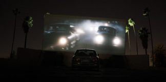 Photo of drive in movie screen