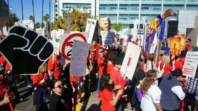 Group of demonstrators rally together