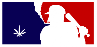 Logo of baseball player and marijuana