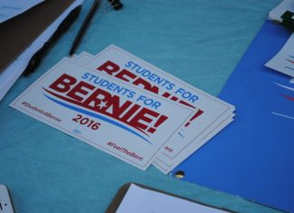 Students for Bernie bumper stickers pictured
