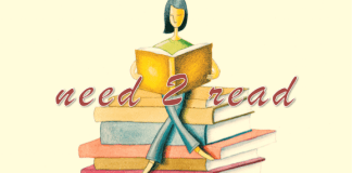 need 2 read logo shows woman sitting atop a pile of books while reading a book