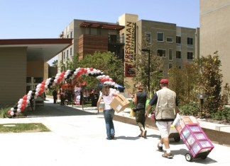 Photo shows students moving into CSUN dorms