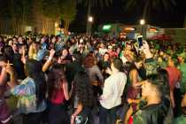 Dancefloor outside of USU crowded with students