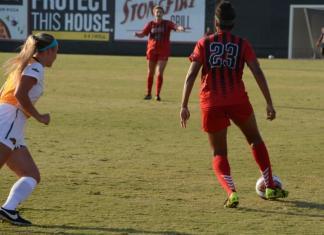 CSUN player prepares to pass the ball