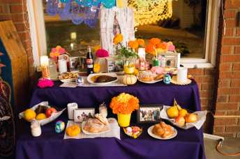 Photo shows alter with many different types of food