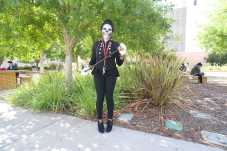 CSUN student dressed up as a skeleton