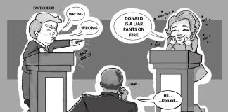 Comic shows presidential debate with Trump and Clinton