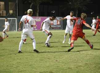 CSUN player attempts to steall the ball from opposing team