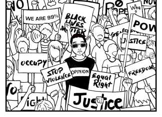 """Illustration shows a protest with the words """"D.C Society"""" written at the bottom"""