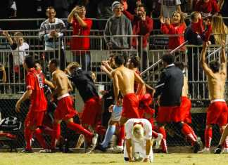 Matador soccer team pictured celebrating their win