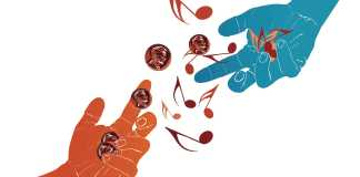 Illustration shows two hands exchanging pennies and music notes