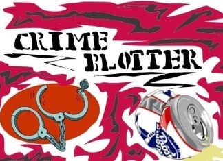 """Illustration displays the words, """"Crime Blotter"""" with a pair of opened handcuffs and a crushed beer can pictured below"""
