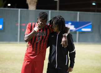student consoles upset soccer player