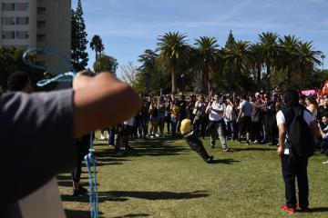Students take turns waking Donald Trump pinata