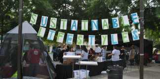 Photo shows sustainable lifestyles banner in front of event at CSUN