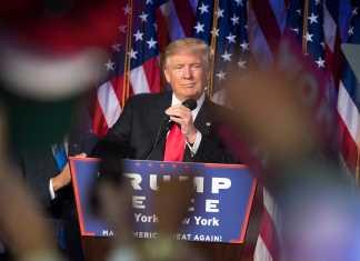 Trump shown giving speech