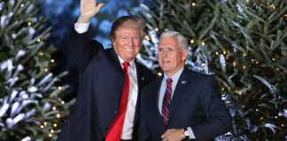 Donald Trump and Mike Pence wave to the audience