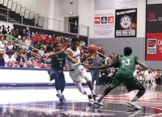 Matador basketball player dribbles the ball down the court
