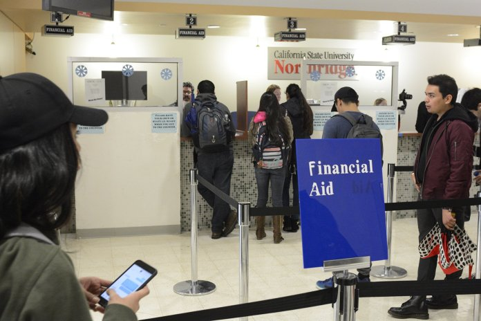 CSUN students pictured lining up at the financial aid office