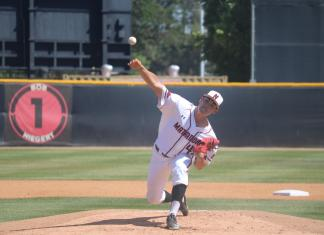Vanderford pitches the ball in the game against riverside