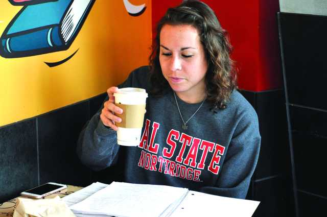 Student drinking coffee